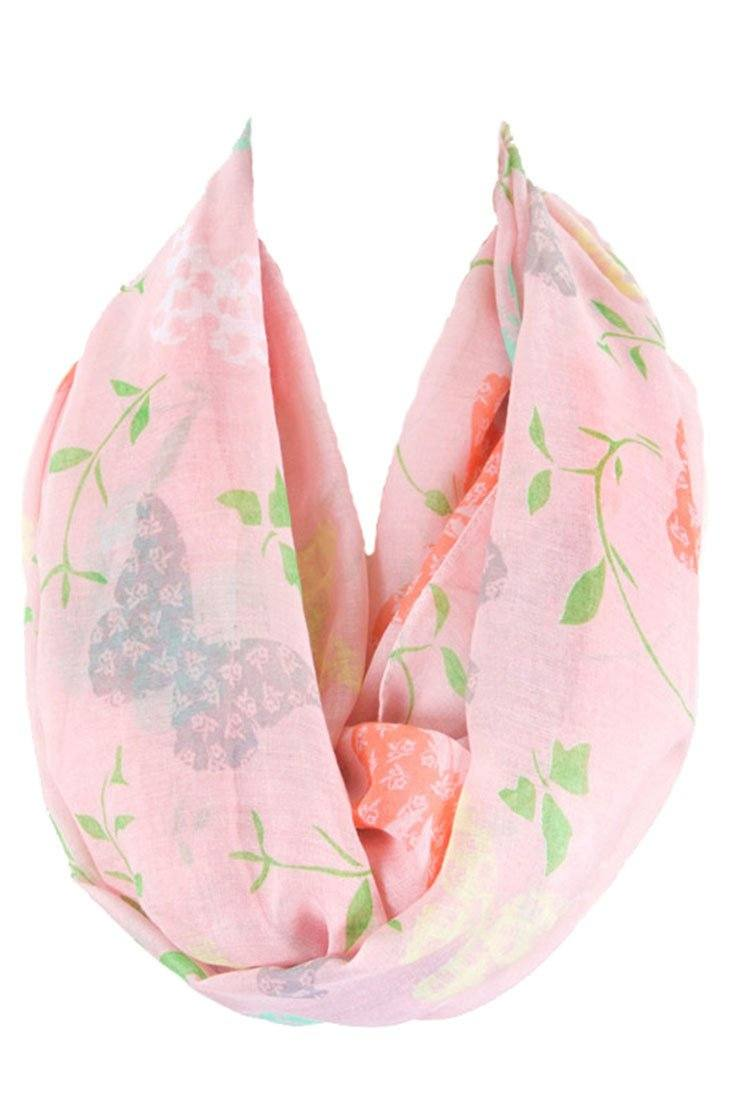 Soft Butterflies & Floral Pattern Infinity Loop Scarf-Scarves-Niobe Clothing