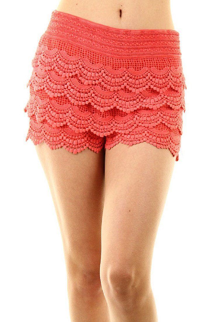 Scallop Crochet Textured Lace Shorts (Coral) - Niobe Clothing