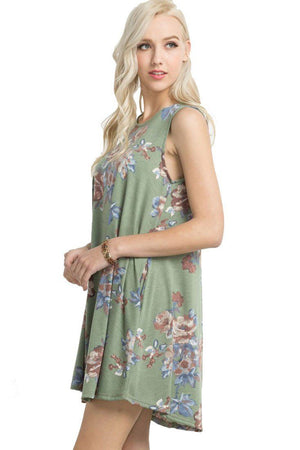 Knit Sleeveless T-shirt Dress in Olive Floral