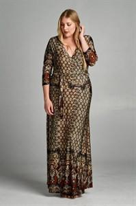 3/4 Sleeve Bohemian Espresso Multicolor Maxi Dress