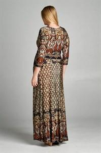3/4 Sleeve Bohemian Espresso Multicolor Maxi Dress dress- Niobe Clothing