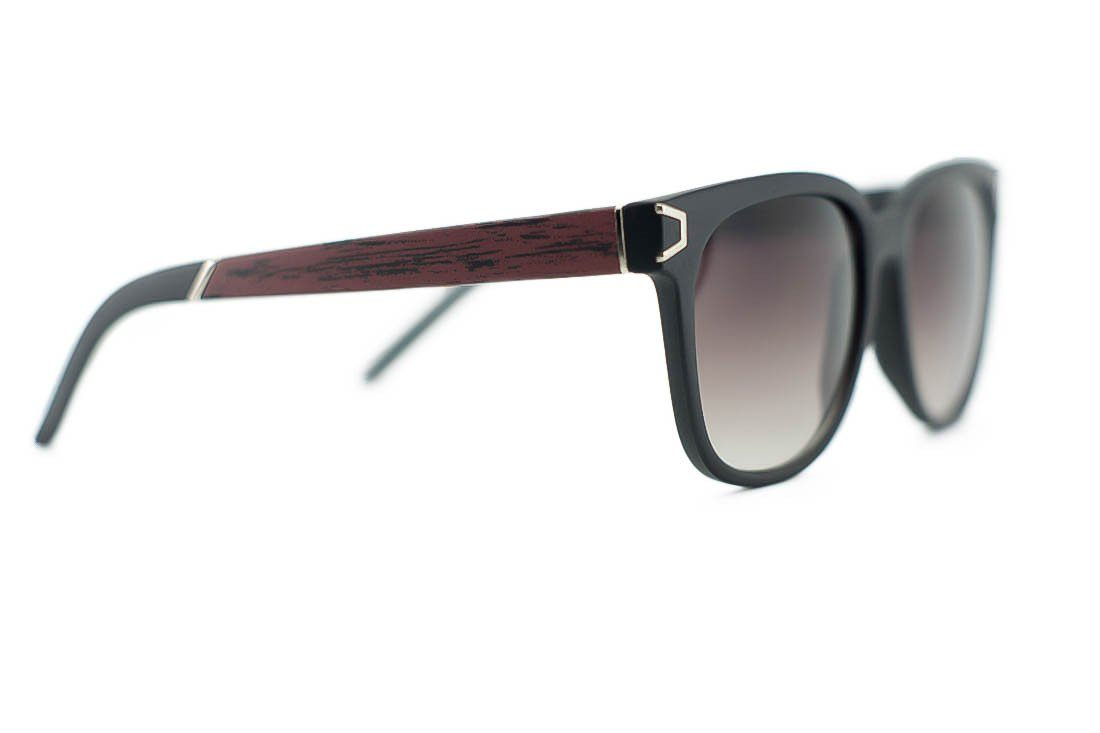 Unisex Wayfarer Wood Print Metal Accent Sunglasses Sunglasses- Niobe Clothing