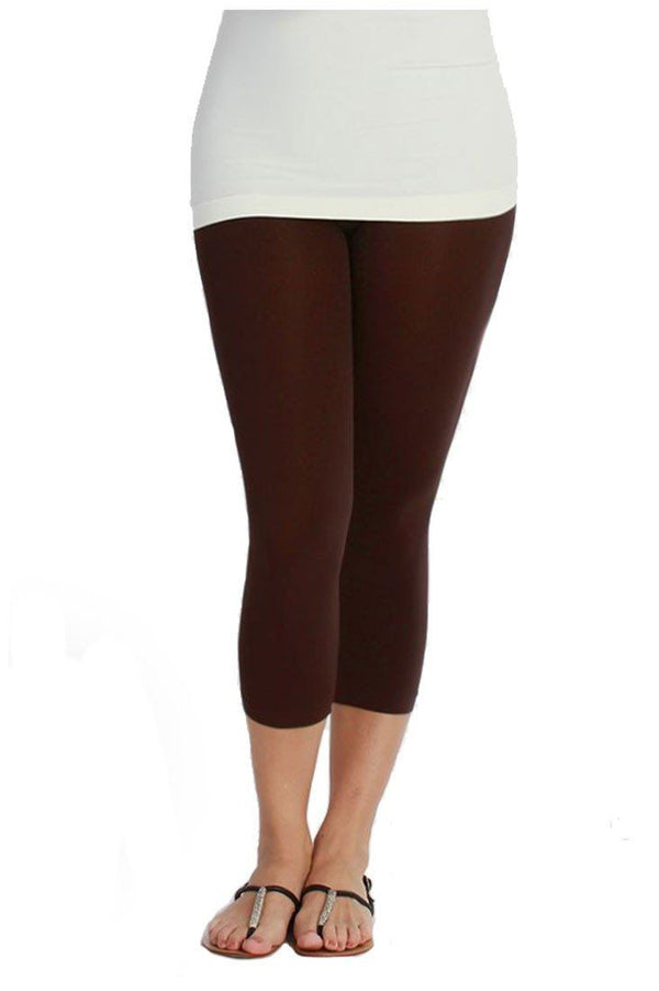 Plus Size Seamless Smooth Crop Leggings leggings- Niobe Clothing