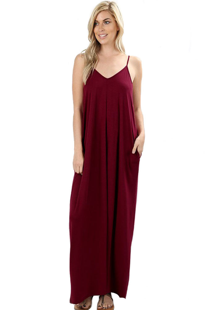 V-Neck Cami Spaghetti Strap Maxi Dress dress- Niobe Clothing
