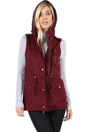 Sleeveless Utility Hoodie Military Vest Cardigans- Niobe Clothing