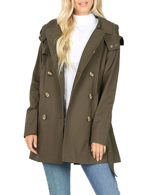 Cotton Hooded Twill Trench Coat with Belt Jackets- Niobe Clothing