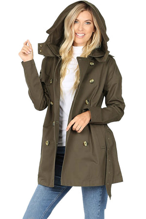 Cotton Hooded Twill Trench Coat with Belt