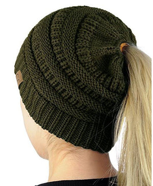 Solid Color Messy Bun Ponytail Beanie