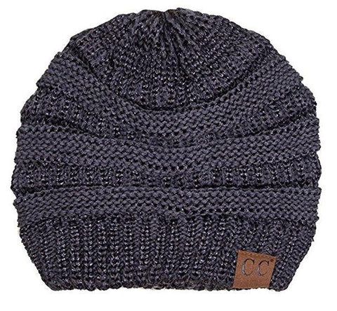 Unisex Soft Stretch Knit Slouchy Beanie (Two Toned- Dark Melange/Grey Metallic))