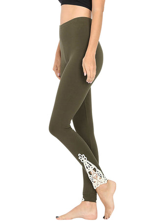 Cotton Full Length Ankle Lace Leggings-leggings-Niobe Clothing