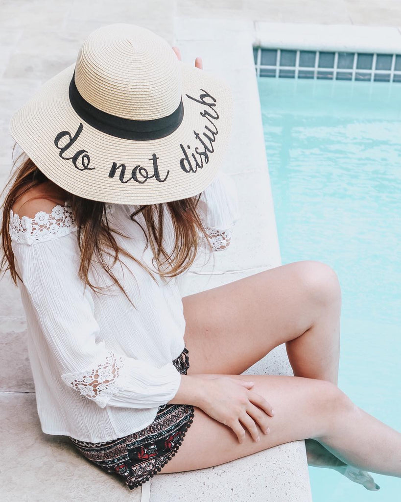 Do Not Disturb Embroidered Floppy Sun Straw Hat