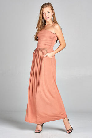 Empire Cut Tube Maxi Dress w/ Pockets dress- Niobe Clothing