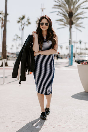 Navy Striped Strapless Bodycon Mini Tube Dress