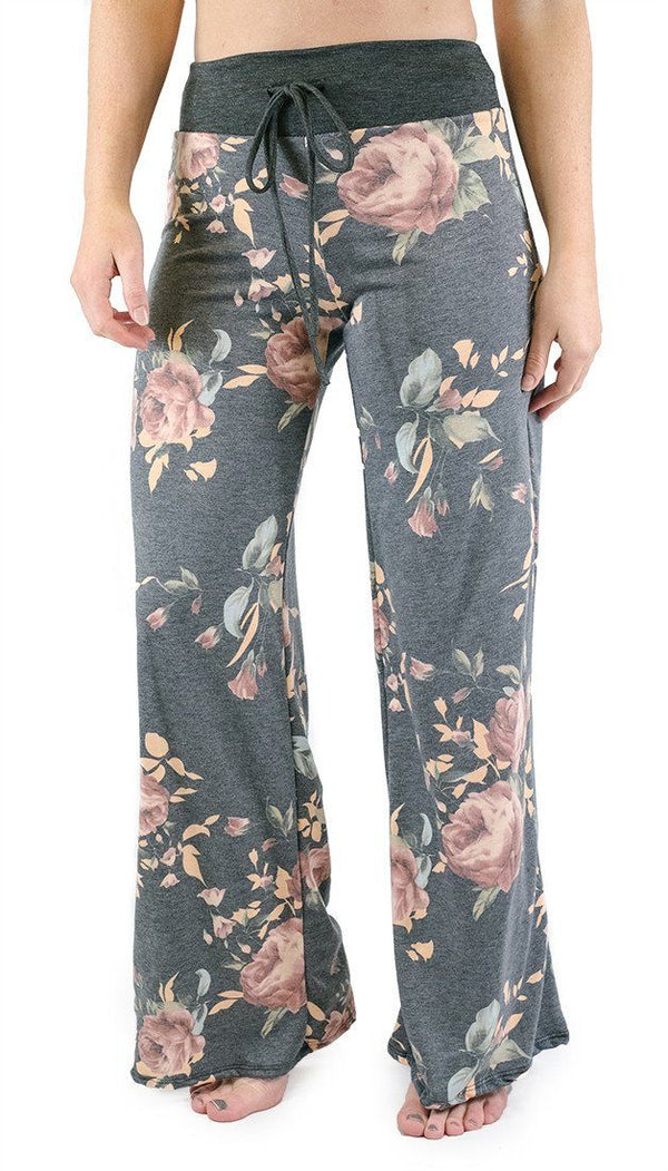 Charcoal Roses Casual Lounge Pants pants- Niobe Clothing