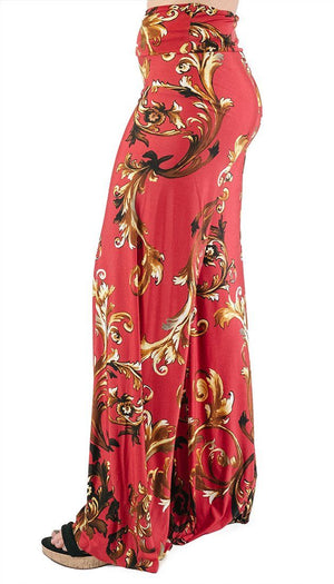 High Waist Fold Over Wide Leg Palazzo Pants (Red Gold Impression)