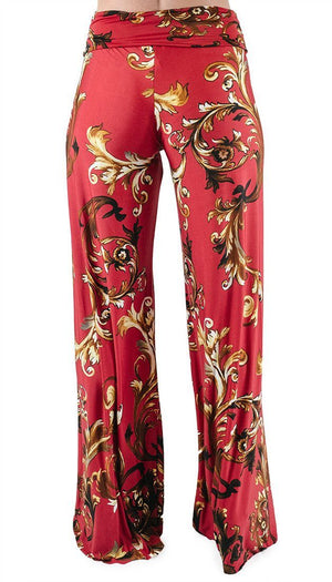 High Waist Fold Over Wide Leg Palazzo Pants (Red Gold Impression)-pants-Niobe Clothing