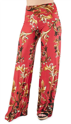 High Waist Fold Over Wide Leg Palazzo Pants (Red Gold Impression) pants- Niobe Clothing