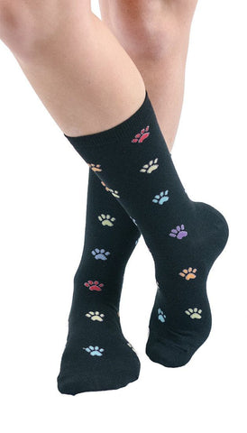 Colorful Paw Prints Crew Socks