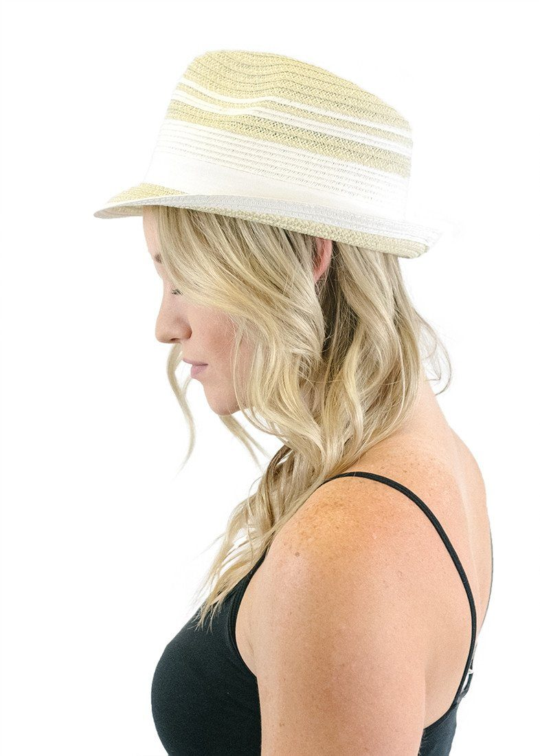 White Stripe Accent Short Brim Straw Fedora-Hats-Niobe Clothing