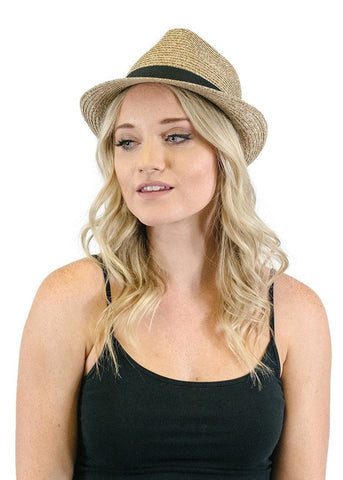 Black Ribbon Accent Short Brim Straw Fedora in Brown