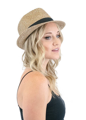 Black Ribbon Accent Short Brim Straw Fedora in Brown Hats- Niobe Clothing