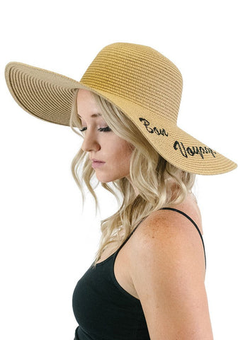'Bon Voyage' Embroidered Floppy Sun Straw Hat in Brown