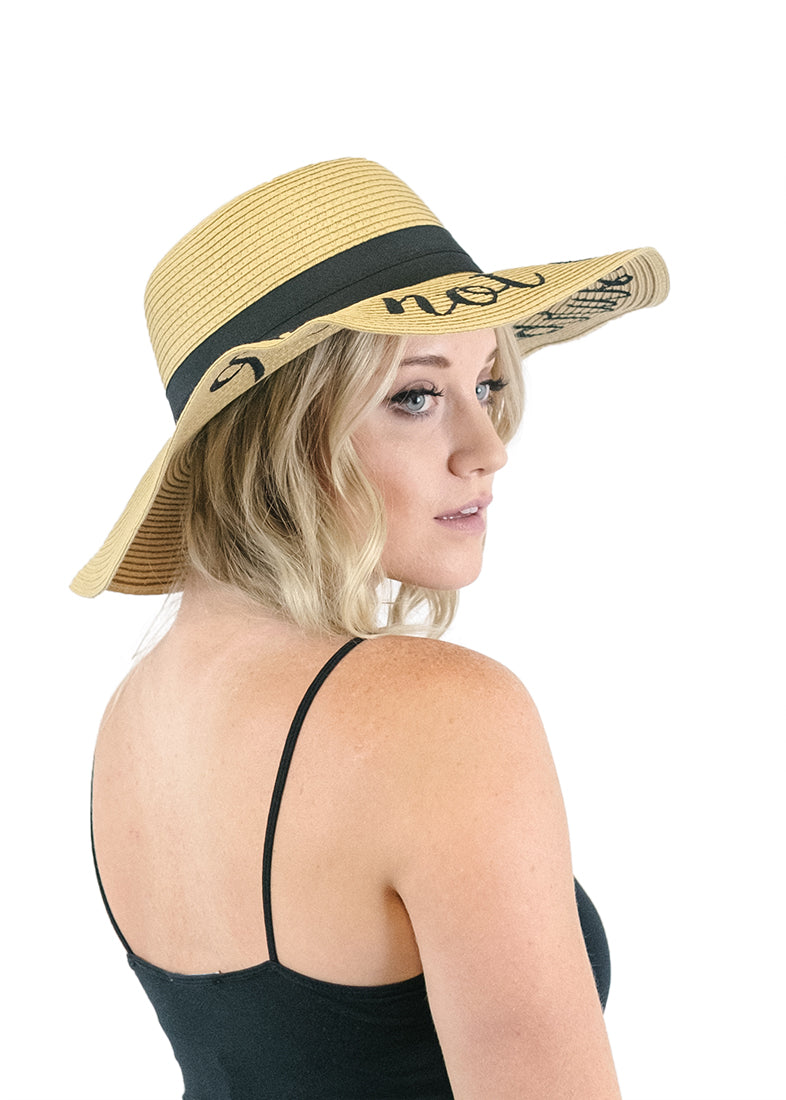Embroidered Floppy Sun Straw Hat Hats- Niobe Clothing
