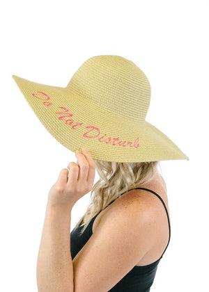 'Do Not Disturb' Embroidered Floppy Sun Straw Hat in Natural Hats- Niobe Clothing