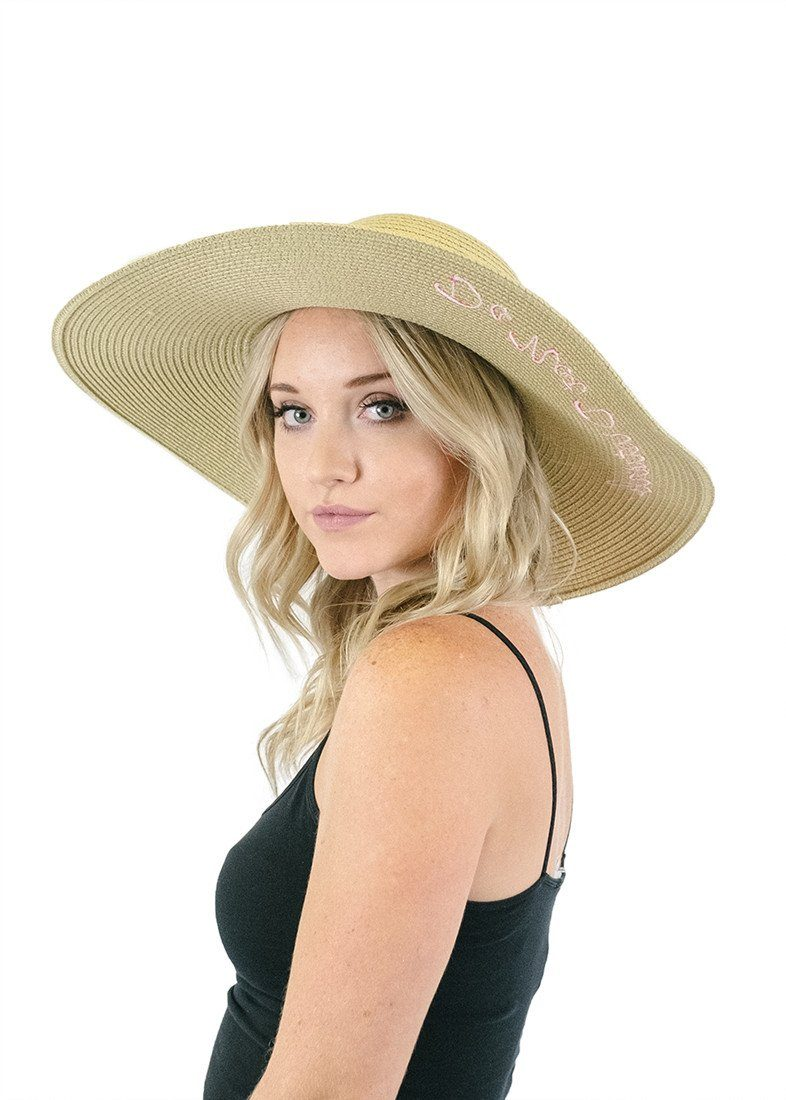'Do Not Disturb' Embroidered Floppy Sun Straw Hat in Natural-Hats-Niobe Clothing