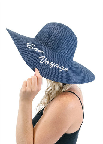 'Bon Voyage' Embroidered Floppy Sun Straw Hat in Navy