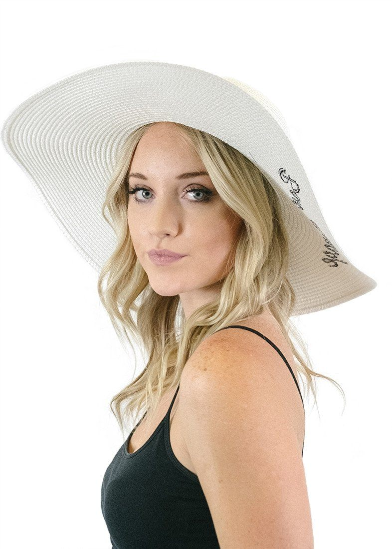 'Bon Voyage' Embroidered Floppy Sun Straw Hat in White