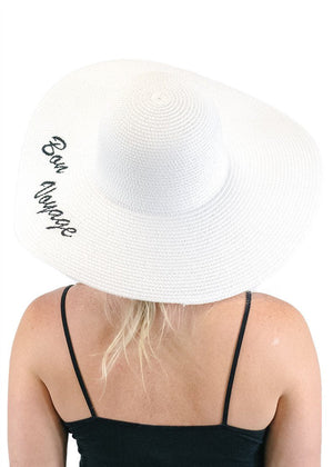 'Bon Voyage' Embroidered Floppy Sun Straw Hat in White-Hats-Niobe Clothing