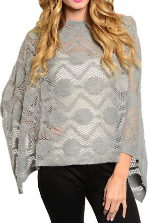 Knit and Faux Fur Poncho with Fringe (Grey) - Niobe Clothing