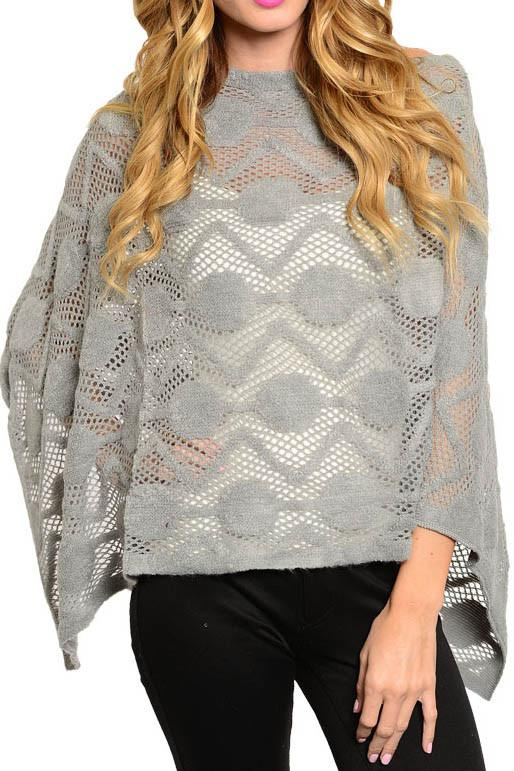 Knit and Faux Fur Poncho with Fringe (Grey) Tops- Niobe Clothing