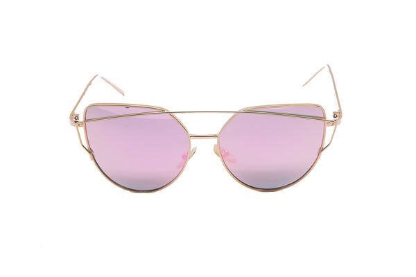 "Mirrored ""Samantha"" Flat Lens Strikethrough Cat Eye Sunglasses in Gold Frame Sunglasses- Niobe Clothing"