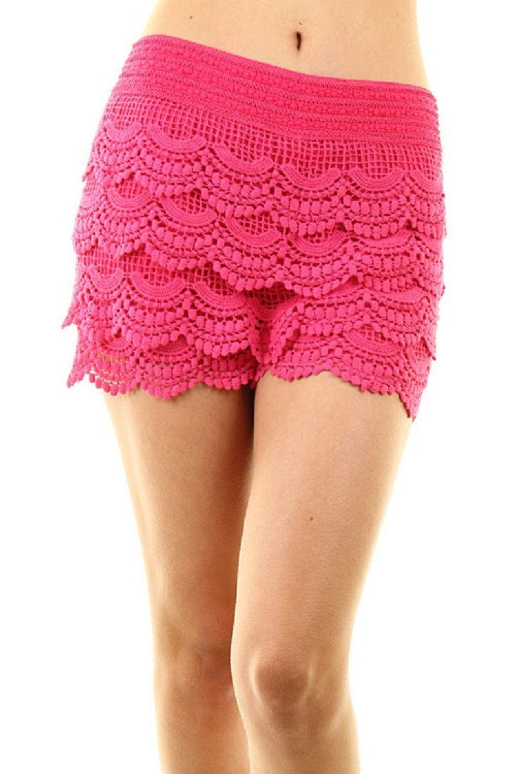 Scallop Crochet Textured Lace Shorts (Fuschia) - Niobe Clothing
