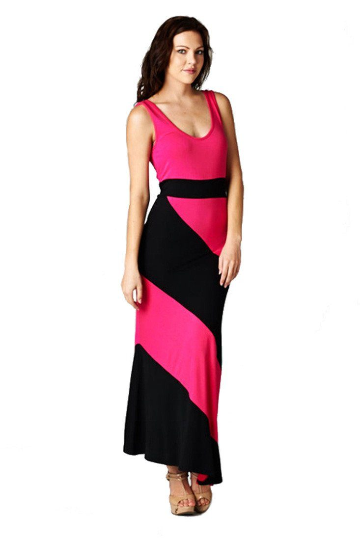 Panel Print Colorblock Knit Scoop Neck Jersey Maxi Dress (Fuchsia)-dress-Niobe Clothing