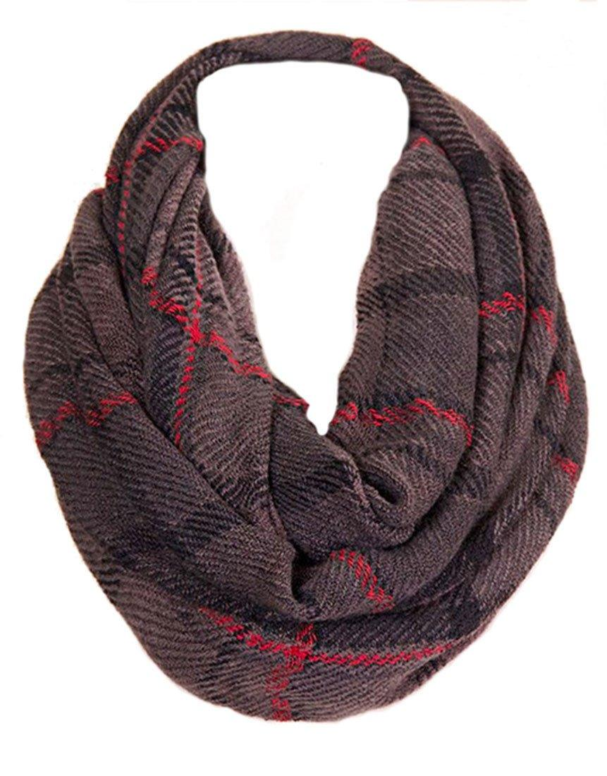 Soft Grey Multi Plaid Infinity Loop Scarf - Niobe Clothing