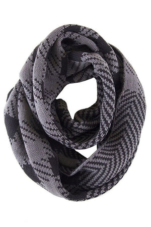Soft Classic Grey Chevron Pattern Infinity Loop Scarf Scarves- Niobe Clothing