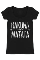 Hakuna Matata Scoop Neck Short Sleeve Shirt Tops- Niobe Clothing
