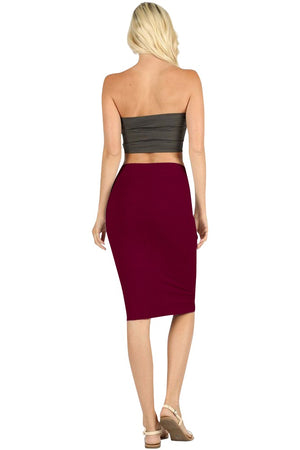 High Waist Fitted Midi Pencil Skirt Skirts- Niobe Clothing