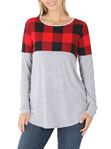 Plaid Colorblock Long Sleeve Shirt