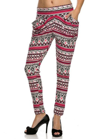 Printed Harem Pant with Side Pockets (Hot Pink)-pants-Niobe Clothing