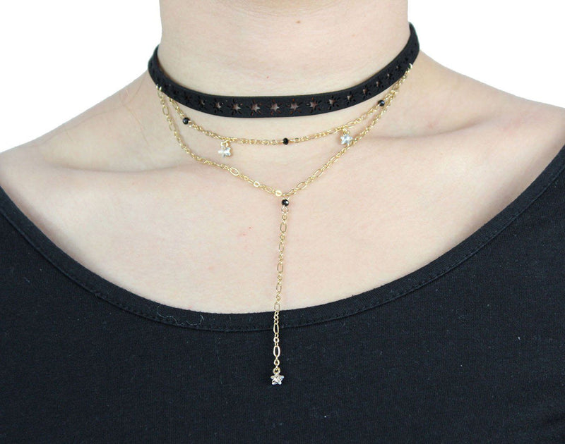 Skipping Prom Choker in Black and Gold Necklace- Niobe Clothing