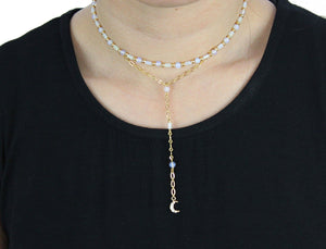 Love Me Lariat Choker in Opal and Gold with Moon Necklace- Niobe Clothing