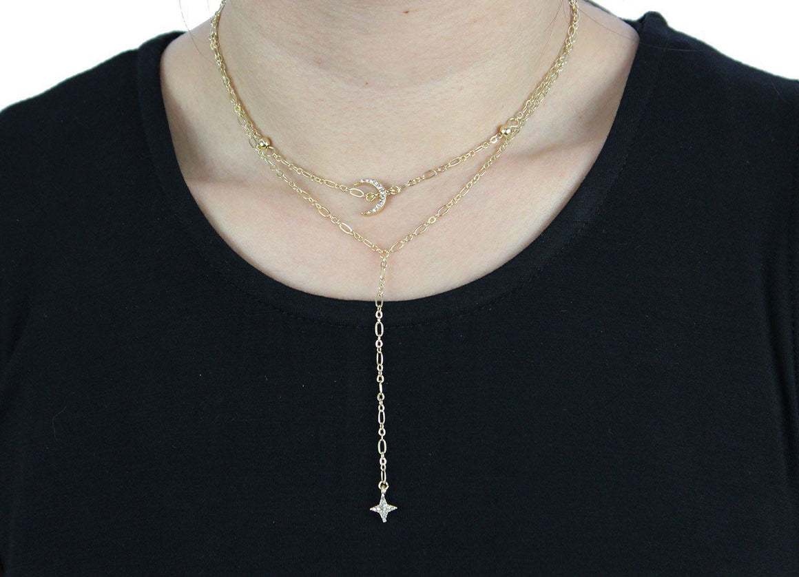 Bali Choker with Moon in Gold Necklace- Niobe Clothing