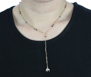 Love to Love Lariat in Topaz with Gold Elephant Necklace- Niobe Clothing