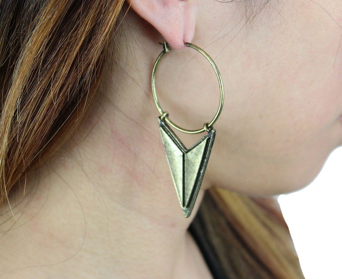 Mathematrix Earrings in Brass-Earrings-Niobe Clothing