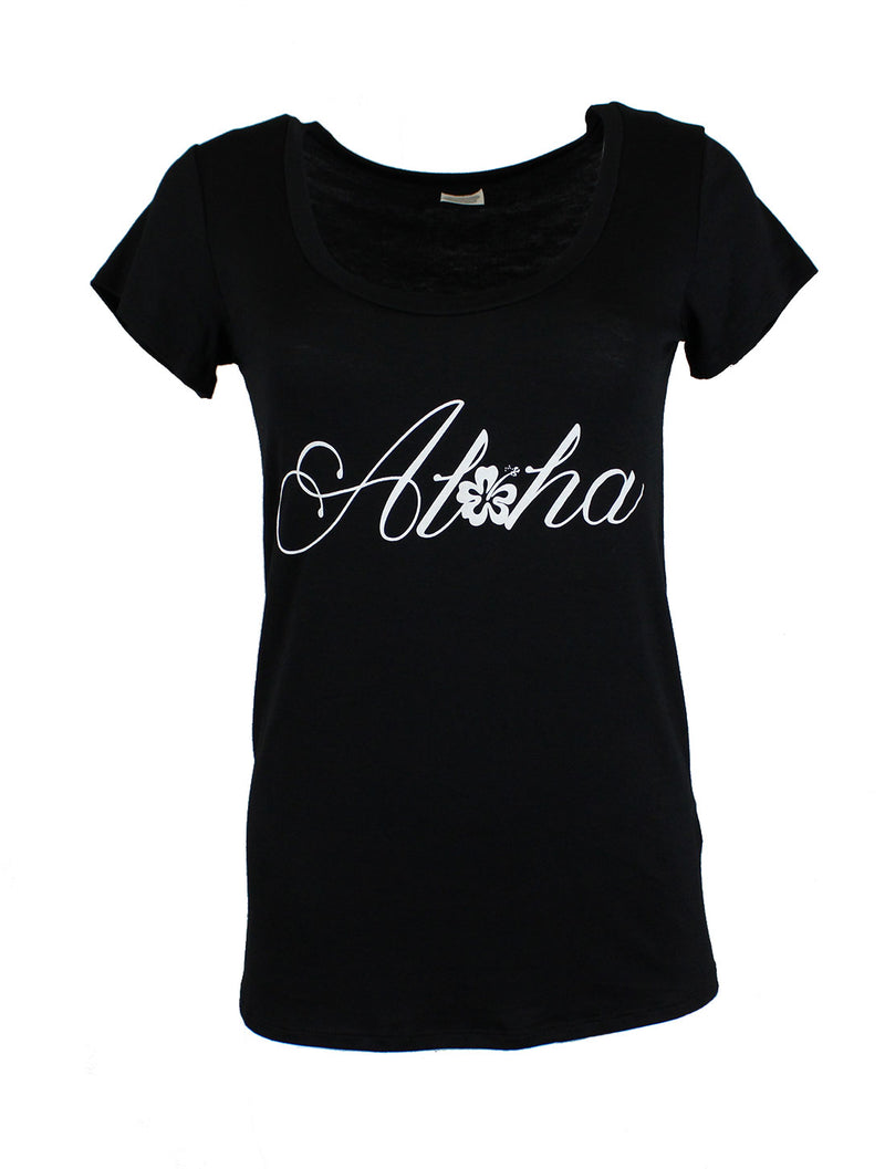 Aloha Scoop Neck Shirt in Black Tops- Niobe Clothing