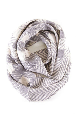 Soft Classic Ivory Chevron Pattern Infinity Loop Scarf Scarves- Niobe Clothing